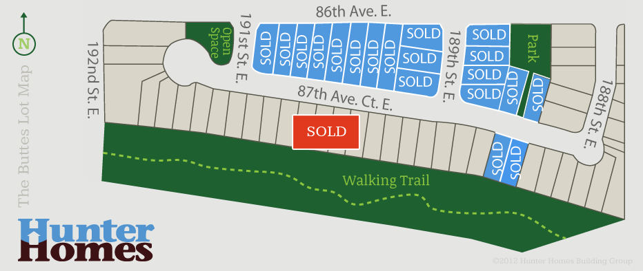 Hunter Homes Building Group - Southridge Community Lot Map - SOLD OUT